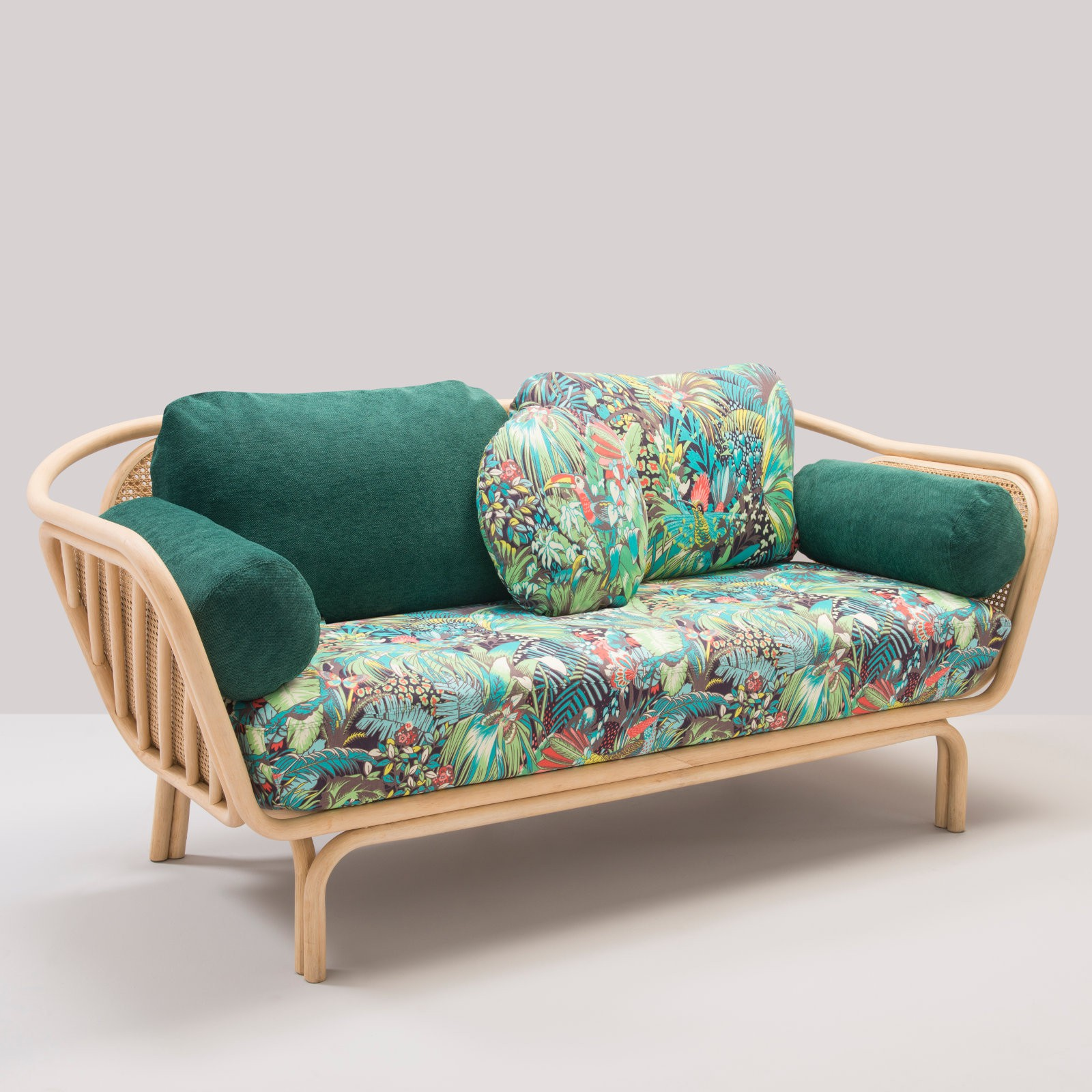 Bôa Sofa With Jungle Cushions In Rattan Designed By At Once
