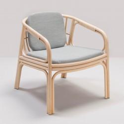 HUBLOT design rattan armchair with Mood grey fabric