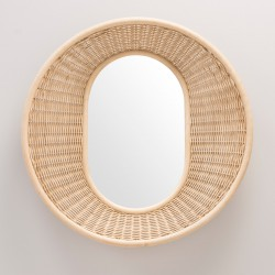 ONDE vertical design rattan mirror