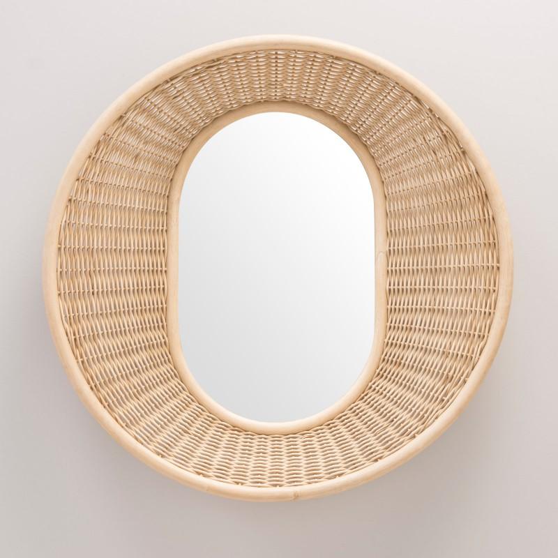 Miroir en rotin design ONDE vertical