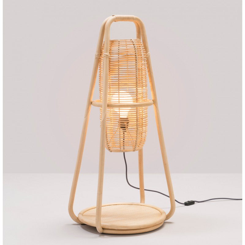 Lampe à poser design en rotin NACELLE