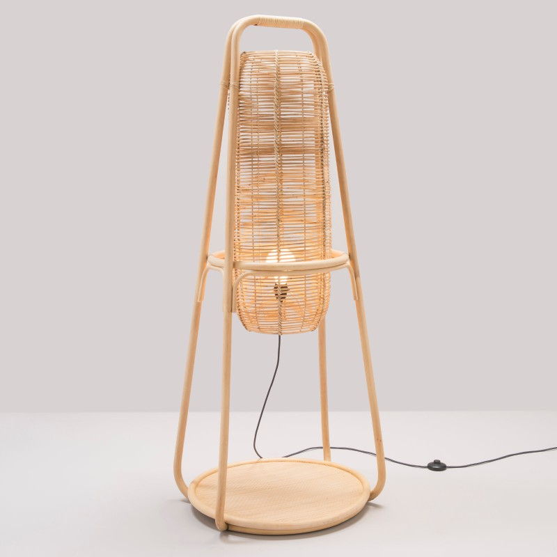 NACELLE design rattan large standing lamp