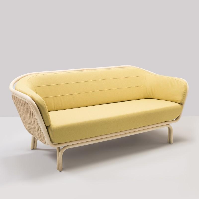 Canapé en rotin BÔA tissu jaune MEDLEY 62054