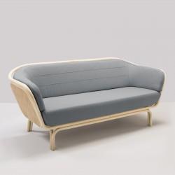 Canapé en rotin BÔA tissu gris MEDLEY 6608