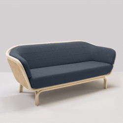 BÔA rattan sofa with night bleu Mood 2103 fabric designed by At-Once