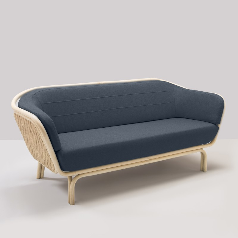 Canapé en rotin BÔA tissu bleu nuit Mood 2103