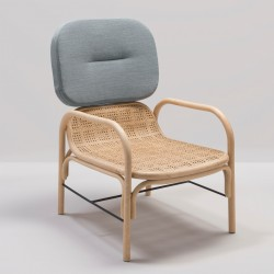 PLUS design rattan armchair with Gabriel Medley 66008 fabric
