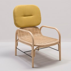 Fauteuil en rotin design PLUS tissu jaune Gabriel Medley 62054