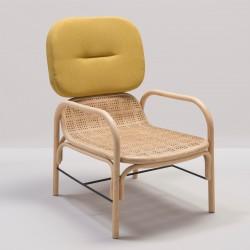 PLUS design rattan armchair with Gabriel Medley 62054 fabric