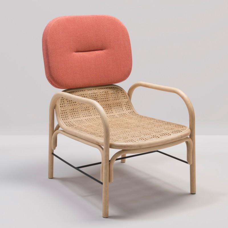PLUS design rattan armchair with Gabriel Capture 4802 fabric