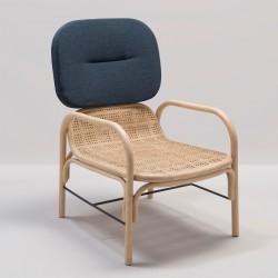 Fauteuil en rotin design PLUS tissu bleu foncé Gabriel Mood 2103