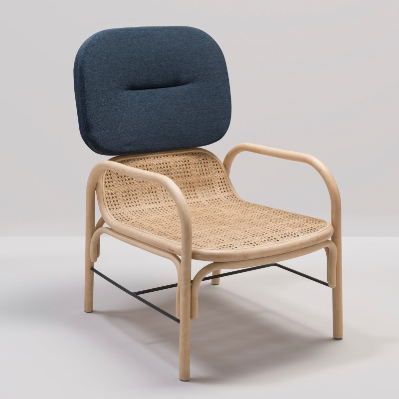 PLUS design rattan armchair with Gabriel Mood 2103 fabric