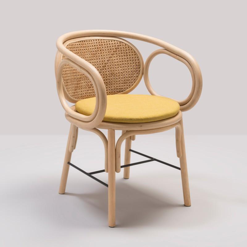 Design rattan CONTOUR table armchair with Gabriel Fabrics Medley Yellow cushion