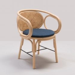 Design rattan CONTOUR table armchair with Gabriel Fabrics Mood Dark Blue cushion