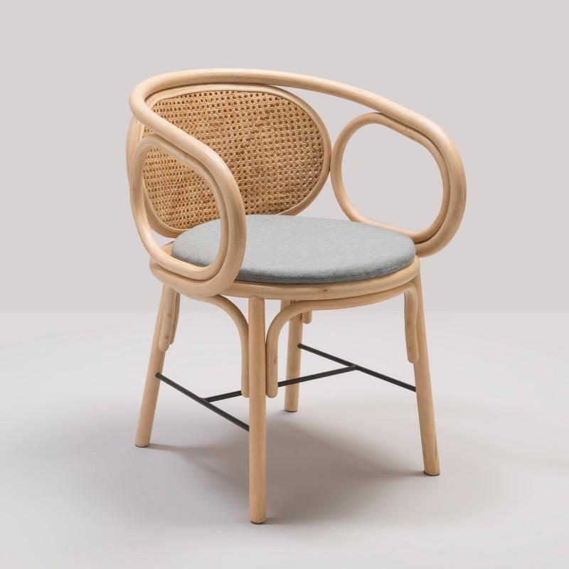 Design rattan CONTOUR table armchair with Gabriel Fabrics Mood Grey cushion