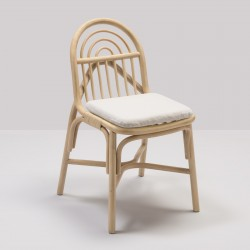 Chaise en rotin design SILLON avec coussin tissu Migliore