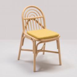Chaise en rotin design SILLON avec coussin Medley jaune de Gabriel Fabrics