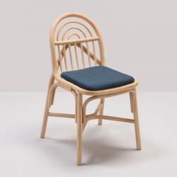 SILLON design rattan chair with Mood blue fabric cushion