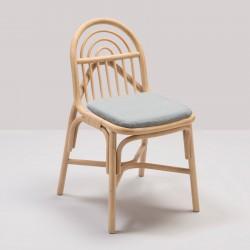 Chaise en rotin design SILLON avec coussin Mood gris de Gabriel Fabrics
