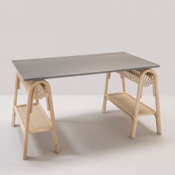 PASSE-PASSE rattan trestles for a design rattan desk with grey top