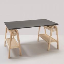 PASSE-PASSE rattan trestles for a design rattan desk with black top