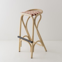 VIRAGE design rattan barstool with Brique red woven straps