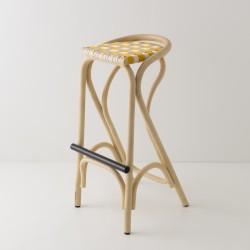 VIRAGE design rattan barstool with Bouton d'Or yellow woven straps