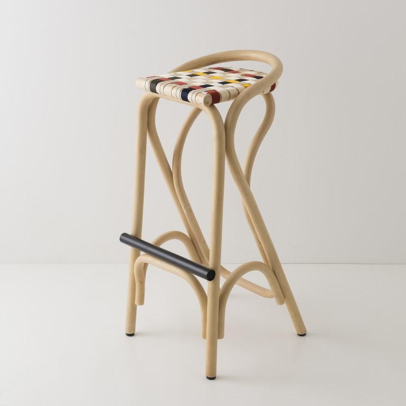 VIRAGE design rattan barstool with multicolour woven straps