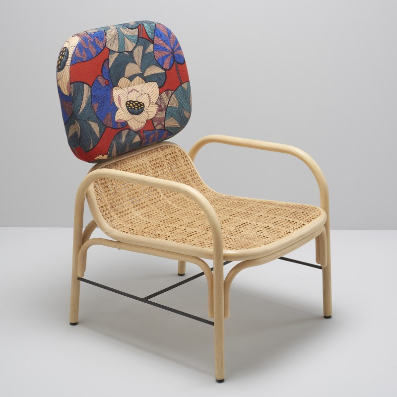 PLUS design rattan rattan armchair with IDRIS exotic fabric by Thevenon