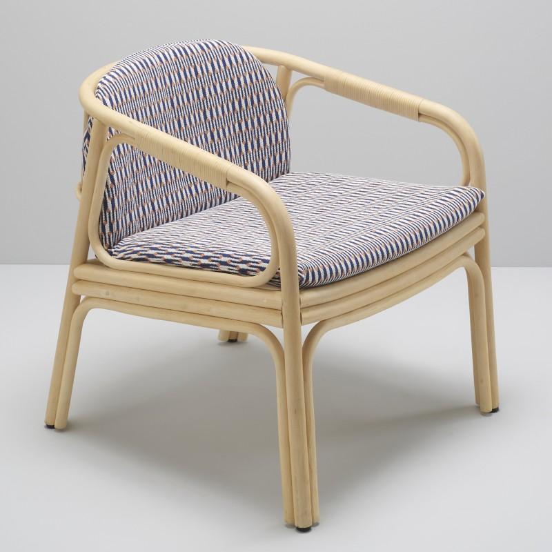 HUBLOT design rattan armchair Marquetry blue fabric by Sunbrella