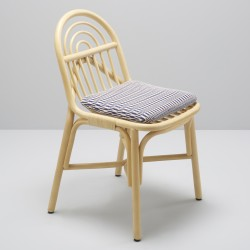 SILLON design rattan chair with Marquetry blue fabric cushion