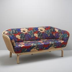 Canapé design en rotin et cannage avec tissu Idris de Thevenon
