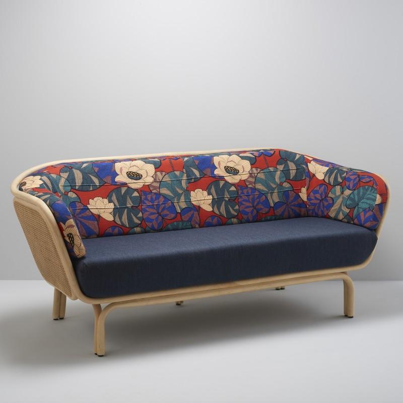 Canapé en rotin design BÔA avec tissus IDRIS + bleu nuit