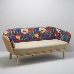 Canapé design en rotin et cannage BÔA avec mélange tissu beige et Idris