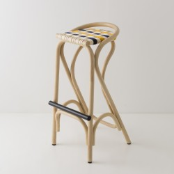 VIRAGE design rattan barstool with Gendarme blue and Bouton d'Or yellow woven straps